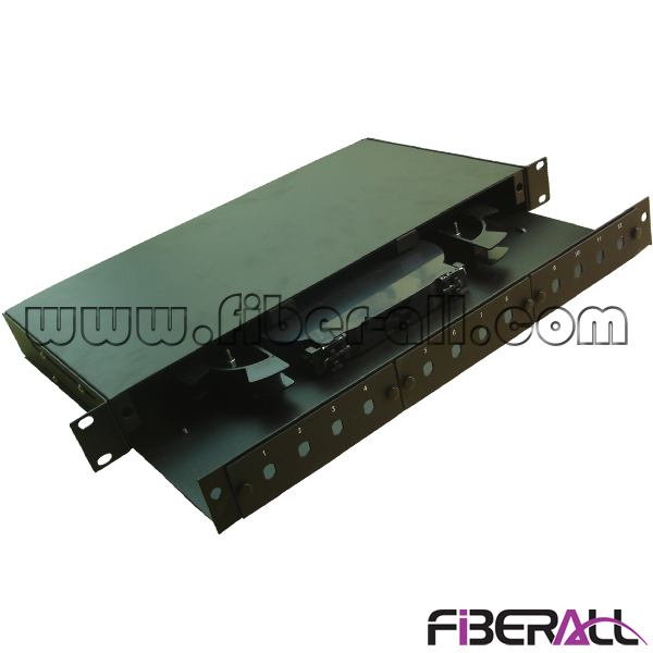 "FA-FDR1MD12B-ST, Slide Drawer Type Rack Mounted Fiber Optic Patch Pane with 12 ST Simplex Fiber Port, 1U Height, 19"" Width, Metal, Black"