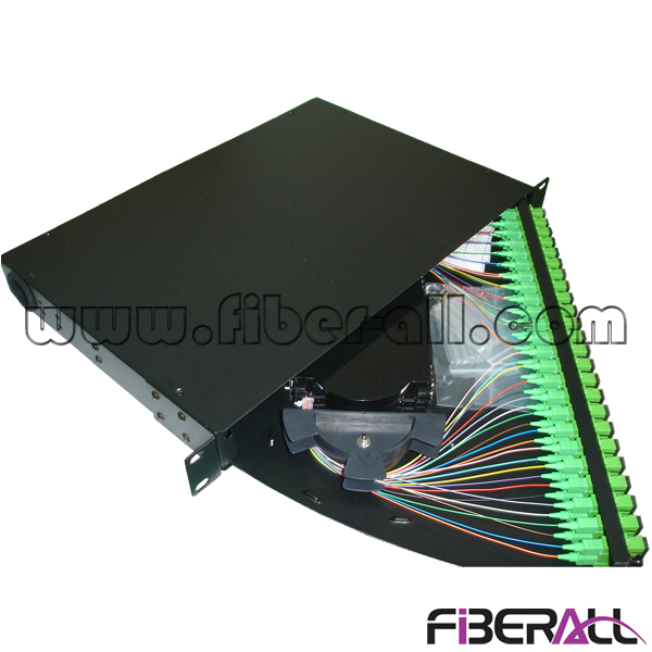 FA-FDR1MR48B-SCA Rotate Fiber Patch Panel Open from Left Side with 24 SC/APC Adapter and 48 Pigtails