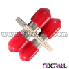 FA-AD-TP2SM-R, Duplex ST Fiber Optic Adapter with Red Cap, SM, Metal