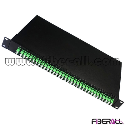 FA-PLCR2×64LA, 2×64 Rack Mounted Fiber Optic PLC Splitter, Pre-loaded in 1U 19 Inch Patch Panel With LC/APC Connector and Adapter