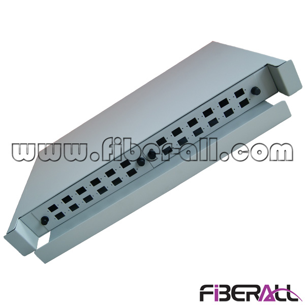 "FA-FDR1DM24G,1U 19"" Rack Mounted Fiber Optic Patch Panel, Sliding Drawer Type, Metal, Grey, 24 Ports for SC FC LC Adapter"