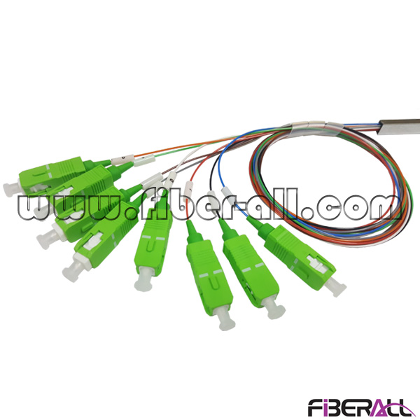 FA-PLCM1×8SA,1x8 Mini Steel Tube Package Fiber Optic PLC Splitter with 0.9mm Color Output and SC/APC Connector