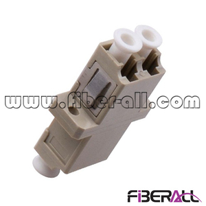FA-AD-LP2MP-S, MM LC/PC Fiber Optical Adapter with Short Flange, Duplex, Plastic, Beige